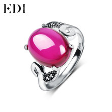EDI 925 Sterling Silver Natural Oval Ruby Adjustable Rings Vintage Authentic Sterling Silver Jewelry Rings for Women JZ047H