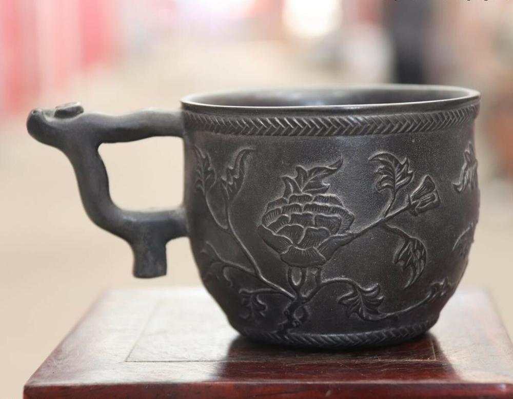 Statue en cuivre pur palais Royal chinois | Belle tasse à vin en Bronze de fleur, BN3012