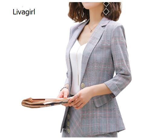 Livagirl new fashion half sleeve plaid blazer women 2019 summer clothes for office lady formal workwear plus size tops