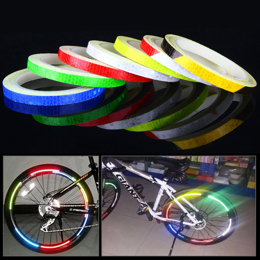 Bicycle Stickers Reflective Bike Sticker Waterproof Bicycle Accessories Cycling Reflective Tape Motorcycle Wheel Warn Bike Light