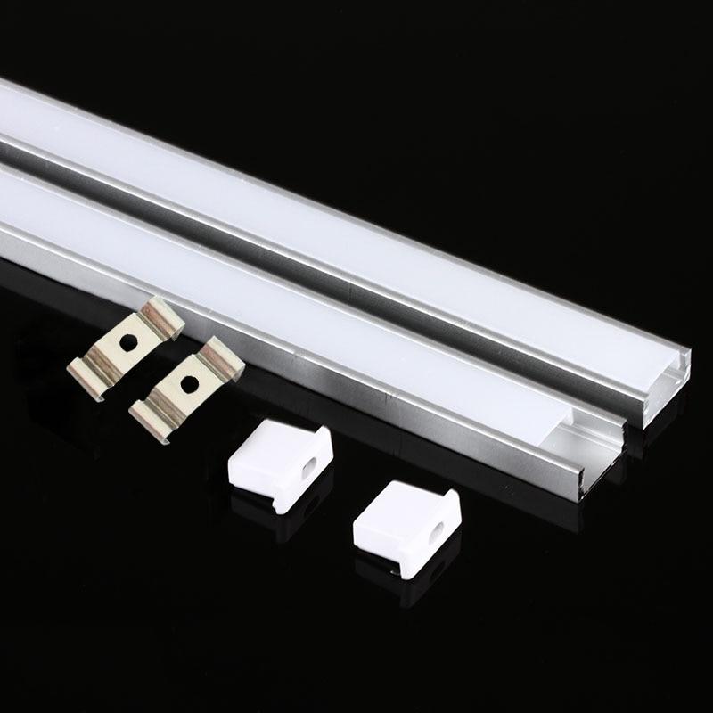 Profil en aluminium de bande de LED de DHL 1 M pour 5050 5730 LED logement en aluminium de canal de barre de LED léger de barre dure avec la couverture d'extrémité de couverture