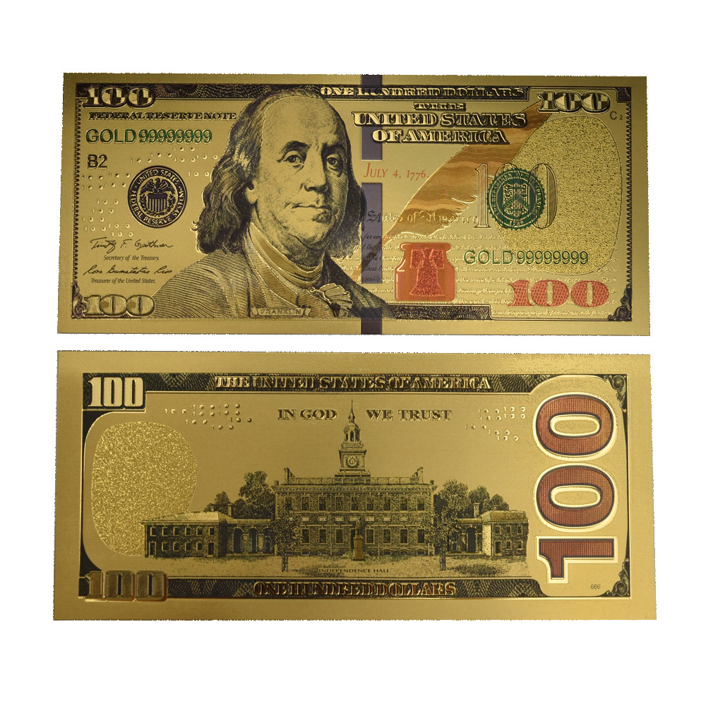 Hot Sale USA 100 Dollar Gold Colorful Foil Banknote Fake Money with envolope For Home Decoration