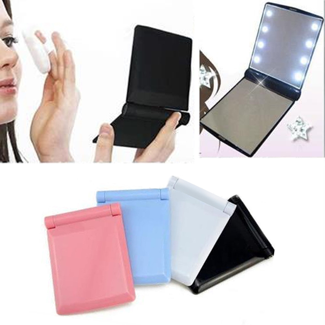8 LED Lights Lamps Hot Selling 1Pcs Led Makeup Mirror Lady Makeup Cosmetic  Folding Portable Compact