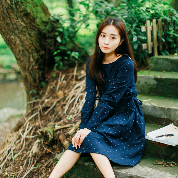 Autumn and Winter Women Retro Vintage Dress Japanese small Floral Print Dress O-neck long sleeve Plus Size Mori Girl Dress