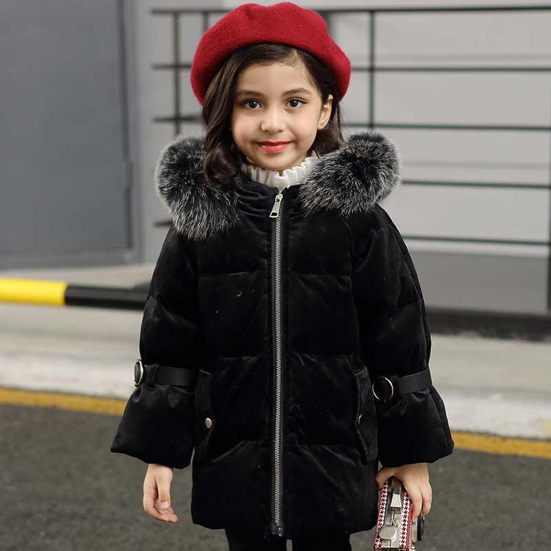 2018 Winter Jacket Girls Down Outwear Coats Parkas Childrens Warm Jackets Kids Girl Winter Jackets Fur Hooded Coat Girl Clothes fur hooded girls winter coats jackets outwear warm long down jacket kids girls clothes children parkas baby girls clothing