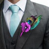 DIY Prywatne dostosowanie starszy groom boutonniere corsages pawim piórem Fioletowy niebieski Mężczyźni best man boutineer kryształ handmade
