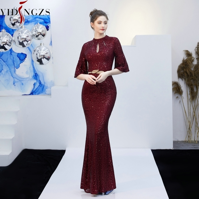 YIDINGZS Gold Sequins Evening Dress Hollow Out Elegant Mermaid Long Formal Party Dress 4