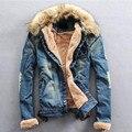 2016 Зима Ripped Джинсовую Куртку Мужчины Clothing Жан Пальто Мужчины повседневная Куртка И Пиджаки С Меховым Воротником Шерсть Толстая Одежда Плюс размер