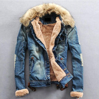 2016 Winter Ripped Denim Jacket Men Clothing Jean Coat Men Casual Jacket Outwear With Fur Collar