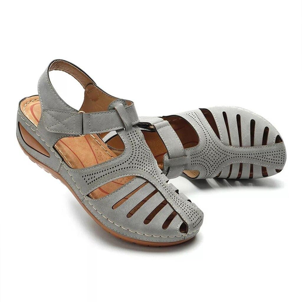 HTB1gGw0Xrr1gK0jSZR0q6zP8XXaG Women's Sandals Shoes Ladies Girls Comfortable Ankle Hollow Round Toe Sandals Soft Sole Shoes Fashion Large Size Sandals Shoes
