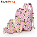RoyaDong School Bag Set Printing Canvas Backpack School Bags For Girls Cute Book Bags Food Fruit Cartoon Prints Sac A Dos Fille