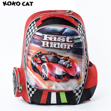 Купить с кэшбэком KOKOCAT Cartoon Kids Children School Backpack Cool Car Bags Boys Bookbag  School Backpacks for Teens Boy Student Schoolbag