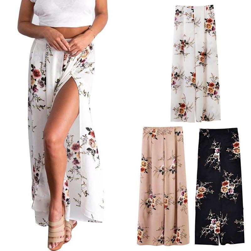 Summer Women   Wide     Leg     Pants   Chiffon High Waist Split Floral Printed Beach Casual Trousers -MX8