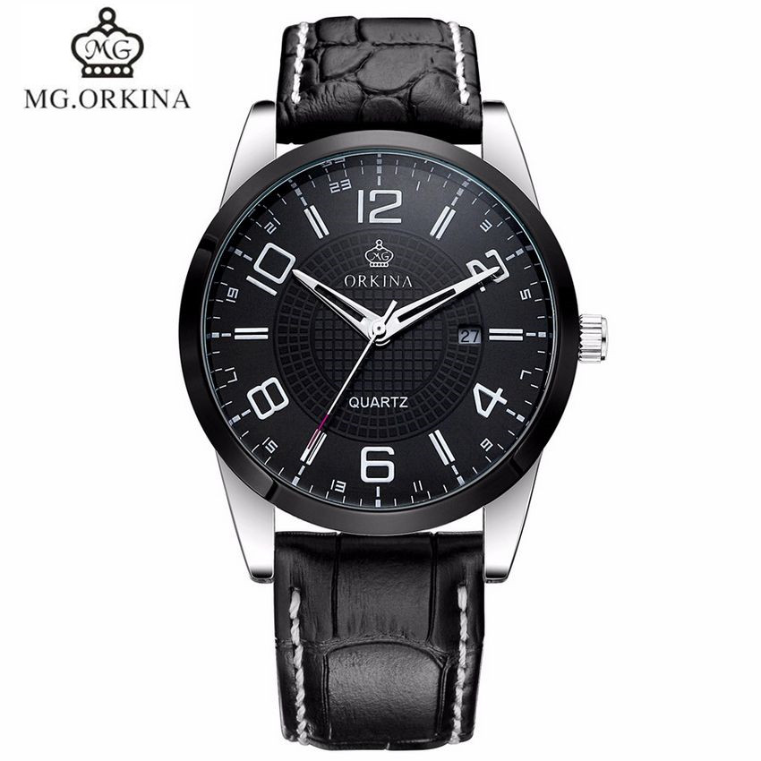 ФОТО MG.Orkina Luxury Horloges Mannen Watch Men's Day Quartz PU Leather Wristwatch Watches Gift Box Free Ship