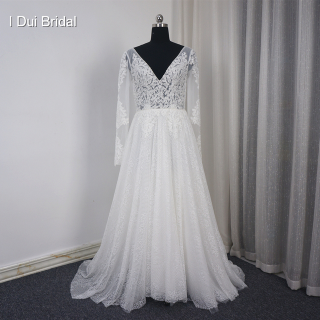 Long Sleeve V Neck Wedding Dress A Line Lace Appliqued Beaded Bare Back Illusion Corset Bridal Gown