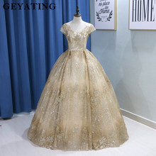 Sparkling Sequins Gold Wedding Dress 2019 Saudi Arabic V-neck Cap Sleeve  Ball Gown Bling Bridal Gowns Free Shipping Floor Length f0d63d4c78e3