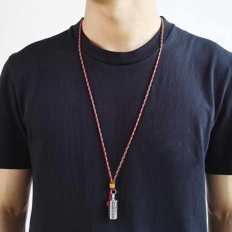 Vnox полая труба Четки Ожерелье для мужчин из нержавеющей стали длинная веревочная цепочка с Писанием Мужская религиозная подвеска