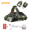 USB CREE XML-T6 LED 2300LM Aluminum Rechargeable Headlight 3Modes Headlamp+2x18650 Battery+US/EU/AU/UK Charger Hunting Fishing