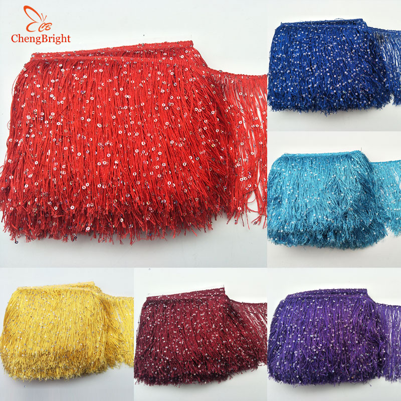 CHENGBRIGHT 1 Yard 20CM Long Polyester Sequins Tassel Fringe Lace Trim Ribbon Sew Latin Dress Stage Garment Curtain Accessories