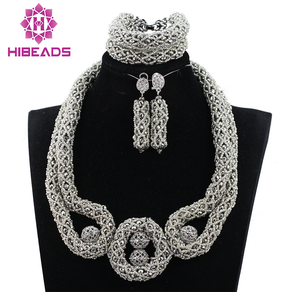 Trendy Lovers Gift Necklace Chunky Bib Silver Beads African Jewelry Sets Women Jewelry Set for Party Bride Free Shipping ABH314Trendy Lovers Gift Necklace Chunky Bib Silver Beads African Jewelry Sets Women Jewelry Set for Party Bride Free Shipping ABH314