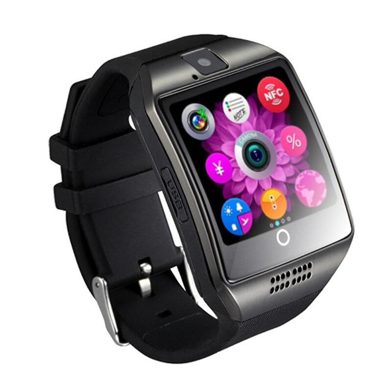 Bluetooth Uomini di Smart Orologio Q18 Con La Macchina Fotografica Facebook Whatsapp Twitter Sync SMS Smartwatch di TF di Sostegno Della Carta Sim per il Telefono Android