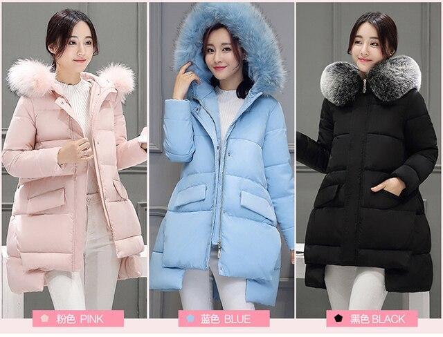 Беременные женщины зима Корейский перо дополняется Девушки длинные свободные пальто больших ярдов Нерегулярные подол толщиной хлопка-ватник пальто