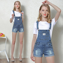 Women's summer new style hole gradient denim strap shorts Manually worn, white cotton cuffed sling jumpsuit недорого