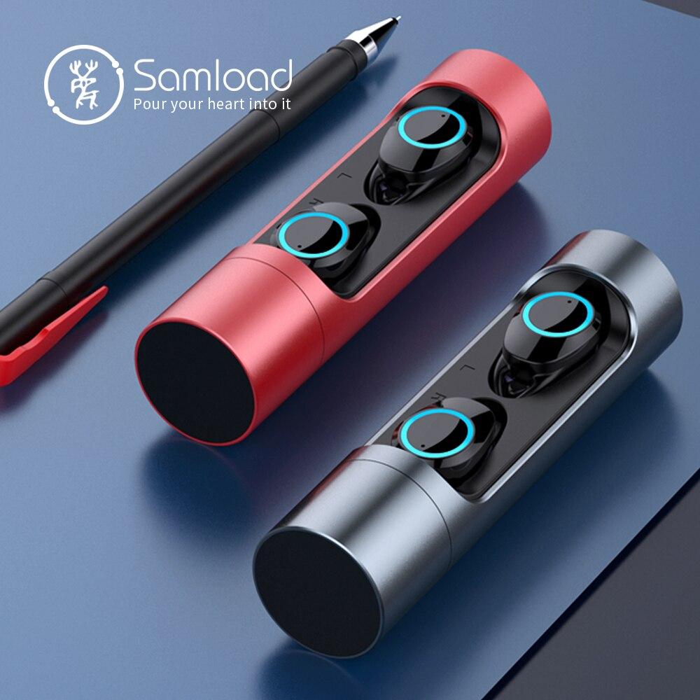 Samload Bluetooth 5.0 Sem Fio do Fone de ouvido Earbuds graves Profundos Fone De Ouvido À Prova D' Água com Caixa de Carga Para Apple iPhone 6 7 8 X sony