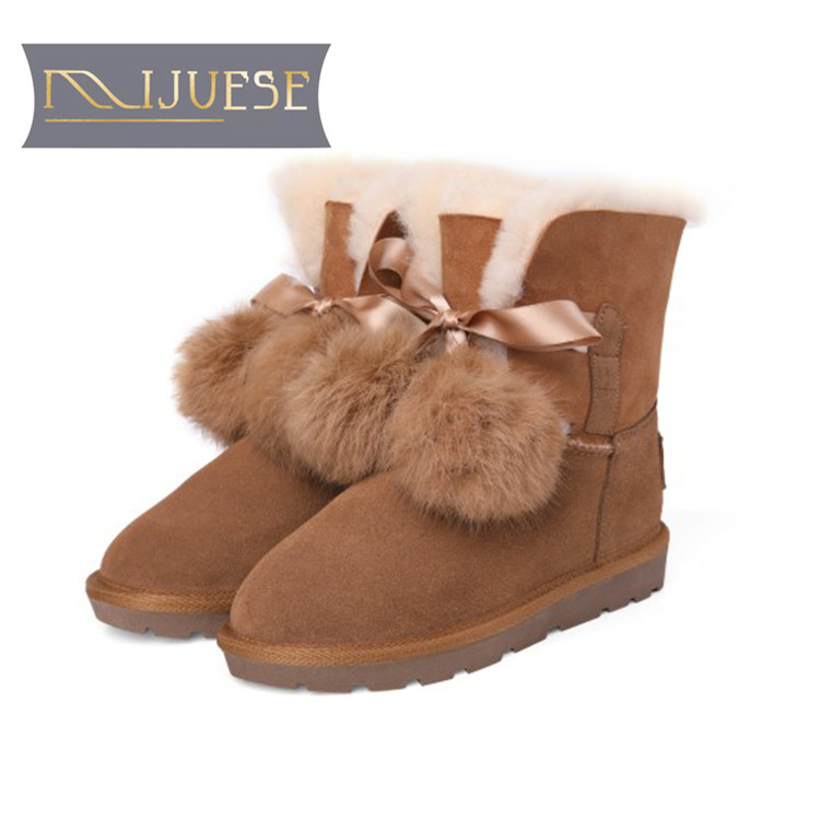 MLJUESE 2019 women ankle boots Fur lace up brown color winter warm wool blend women snow boots women flat boots size 34-42 czrbt plus size women snow boots warm wool blend ankle boots winter women shoes side zipper flat heel boots fashion short boots