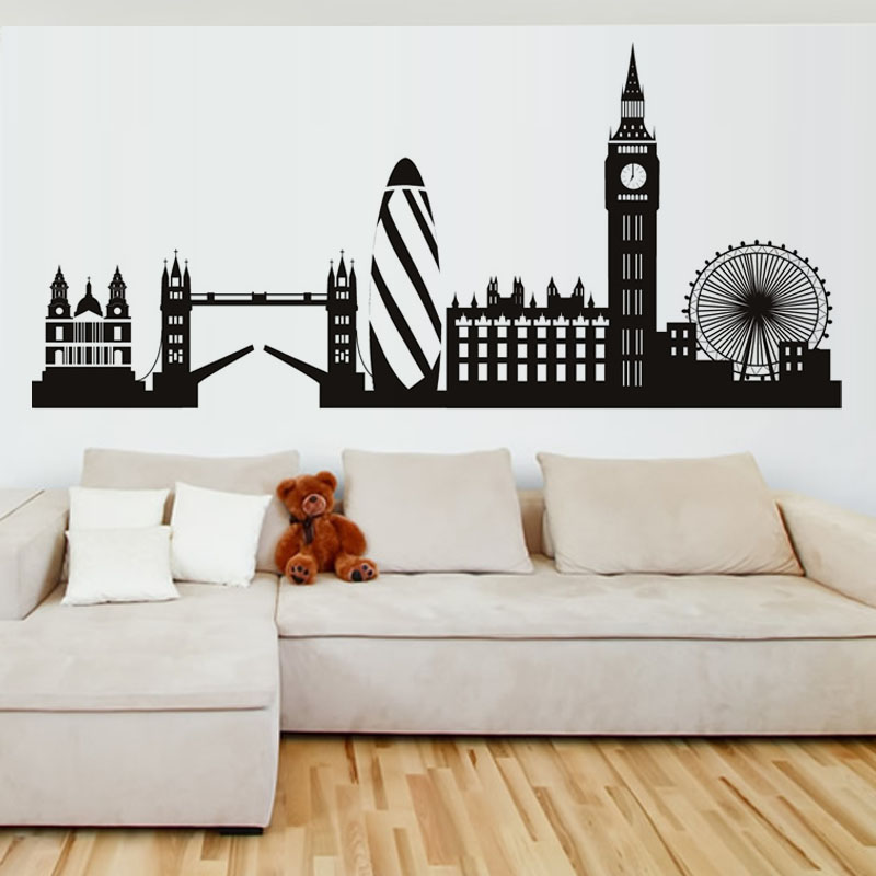 High quality city building home decor london skyline wall for Home accessories london