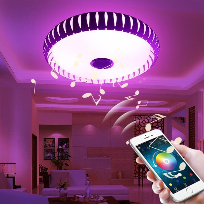 Wireless Bluetooth 4.0 Controllo HA CONDOTTO LA Luce di Soffitto Music & Multi Colori Che Cambiano Intelligente led lampada da soffitto in metallo & Acrilico paralume - 4