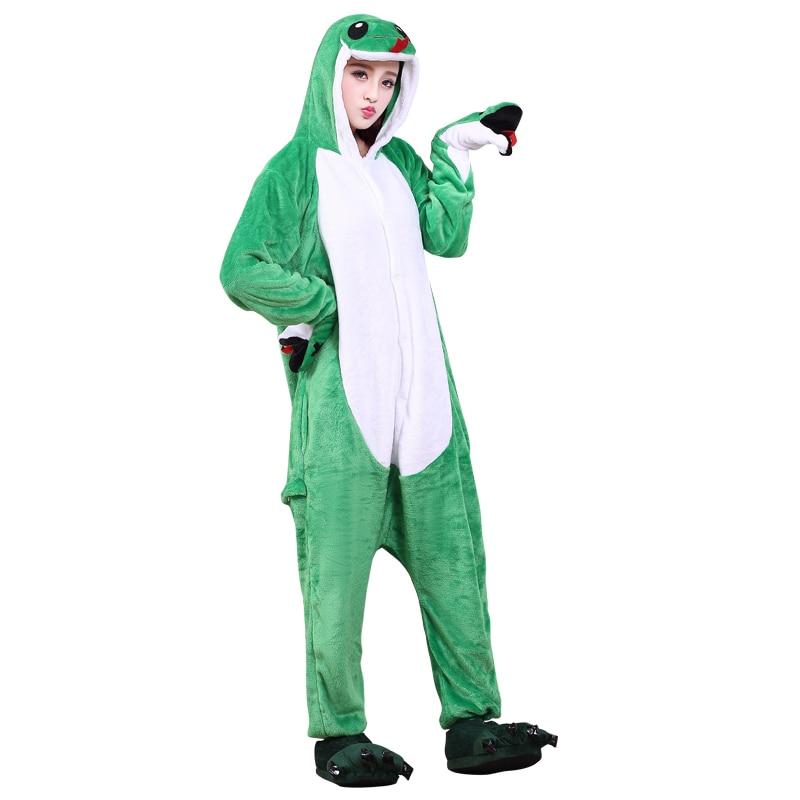 Funny Soft Green Snake Flannel Unisex Adult Pajamas Kigurumi Cosplay Costume Animal Onesie Sleepwear For Halloween Cosplay (5)