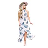 2018 New White Leaf Print Front Slit Halter Boho Dress Summer sleeveless dress