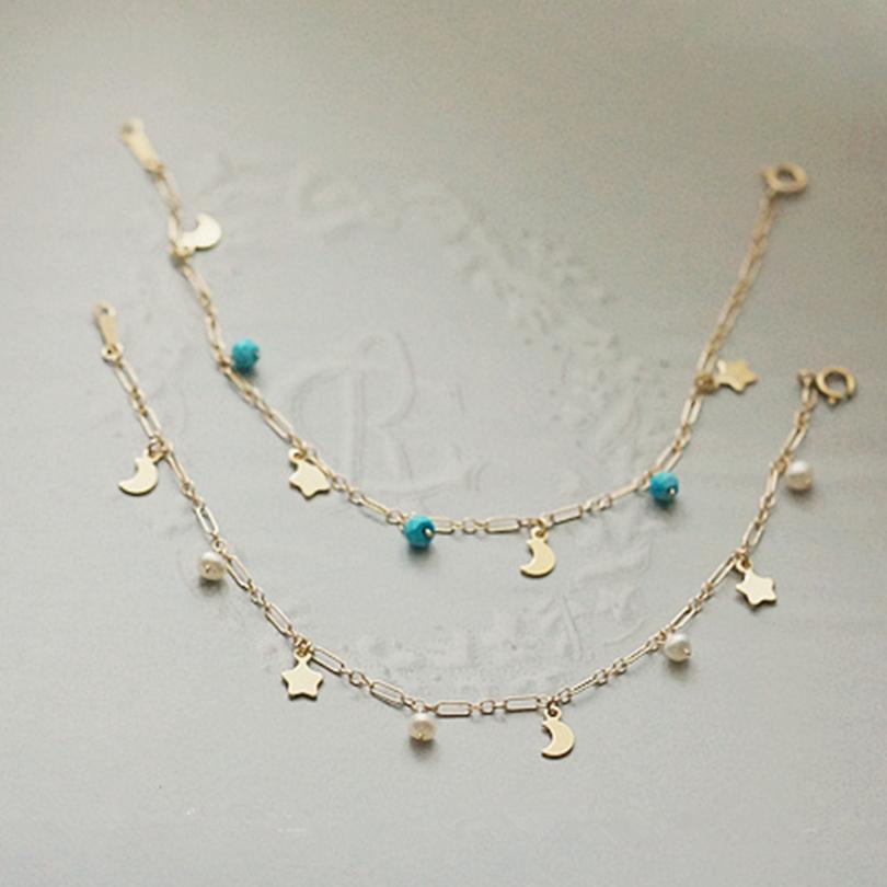 Blue Turquoise Bracelet Women Freshwater Pearl Gold Fine Wedding Engagement Jewelry Hot Trendy Lady Charm Bracelet Bangle