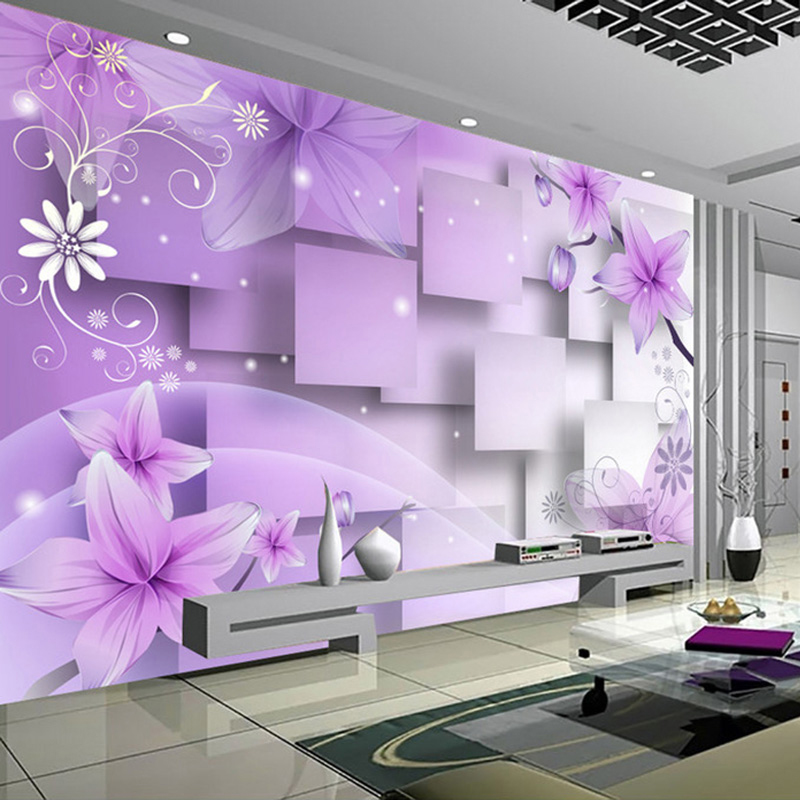 wall purple painting living 3d modern background abstract flowers mural decor tv paper decoration custom wallpapers