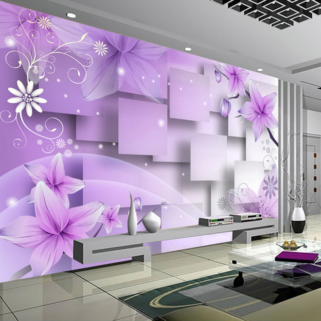 Custom 3d Photo Wallpaper Modern Abstract Art Wall Painting Purple