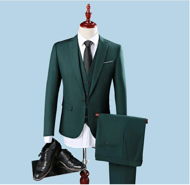 2017 Por Encargo Trajes Para Hombre Alcanzó Solapa Slim Fit 3 Unidades de Esmoquin Padrino de boda Trajes de Novio Traje (Jacket + Pants + Vest)