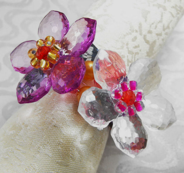 big crystal flower napkin ring wedding napkin holder - Wedding Napkin Rings