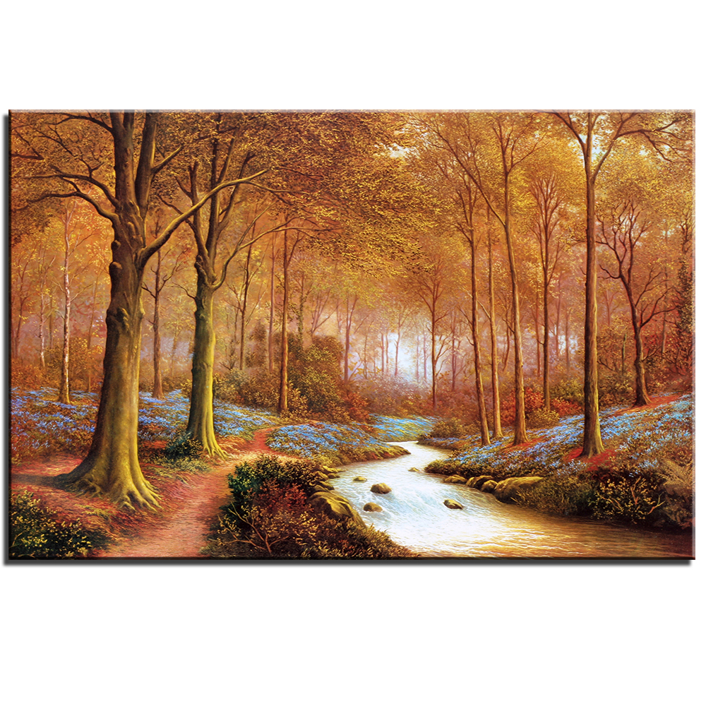 compare prices on art forest online shopping buy low price art modern frameless oil painting print art of landscape canvas art forest of autumn home decoration modular