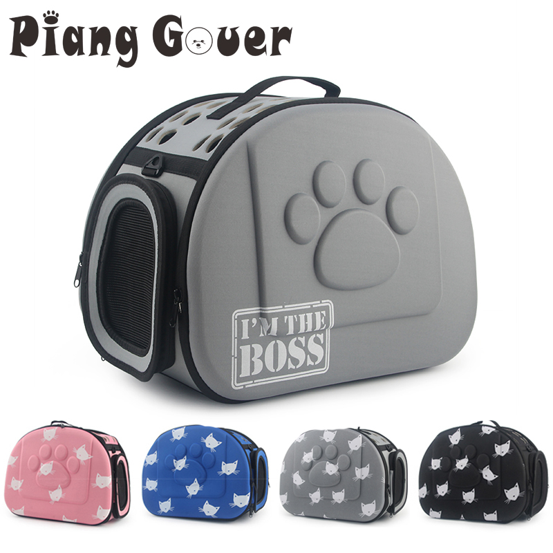 Переноска для собак и щенков, складная сумка на плечо с рисунком кошки, голубого цвета, для путешествий