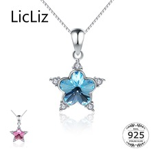 LicLiz New Trendy 925 Sterling Silver Blue Pink Crystal Flower Pendant for Women Pave Clear CZ Zircon Necklace LP0271