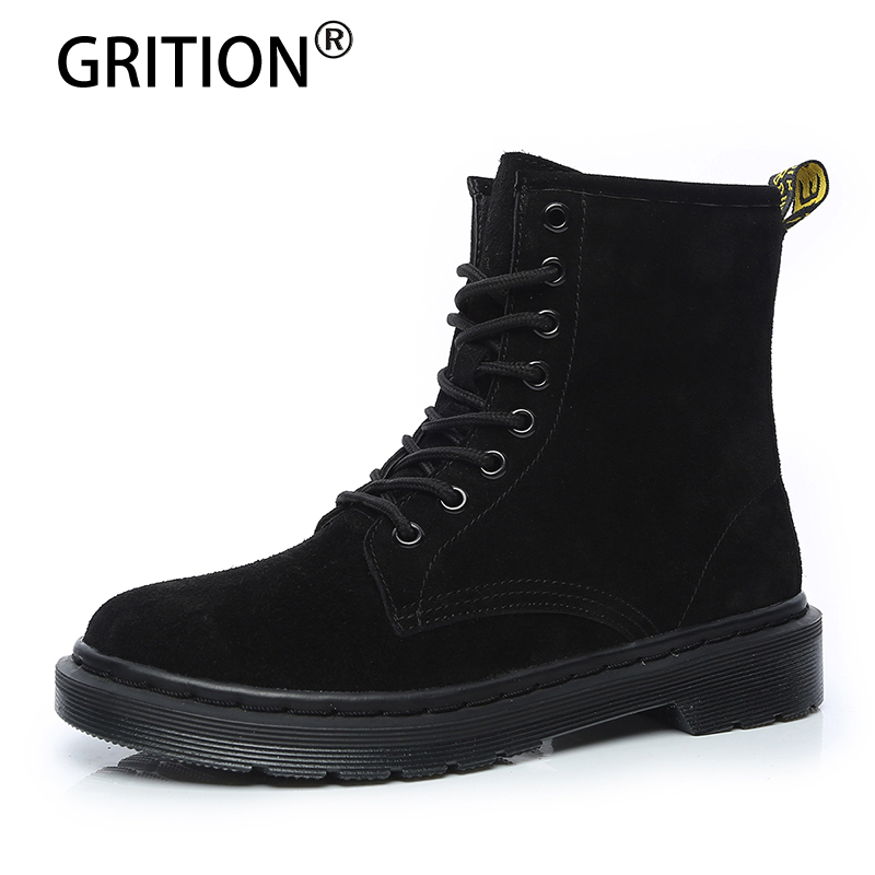 GRITION Women Boots Female Winter Fashion Shoes Woman Warm Genuine Leather Snow Boots Fashion Ankle Boots Black Plus Size 35-43 free shipping women fashion winter shoes genuine leather ankle boots wedges female winter working boots plus size 34 41