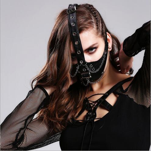 Steampunk gothique lavage Pu cuir demi visage masque hiver chaud froid Protection polaire visage masque Ski Snowboard capuche vent casquette