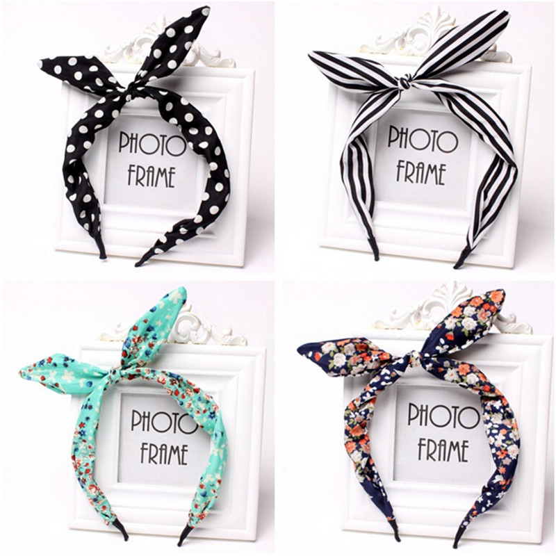 Faithful 1pcs Women Rabbit Ears Headband Hair Band Girls Floral Fabric Butterfly Bow Hair Hoop Hairband Hair Accessories