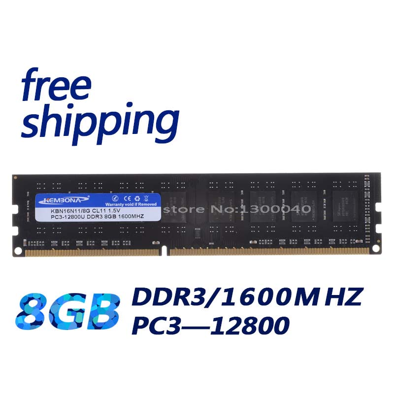 KEMBONA DDR3 1600MHz  8GB PC12800 8GB (for All Motherboard) Brand New Desktop Ram Memory For Desktop RAM Memory Free Shipping!!!
