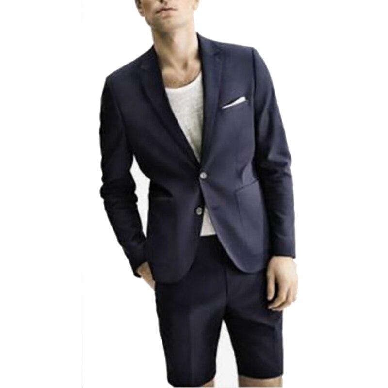 Мужской костюм с шортами, приталенный костюм синего, темно синего цвета для свадьбы, лето 2019