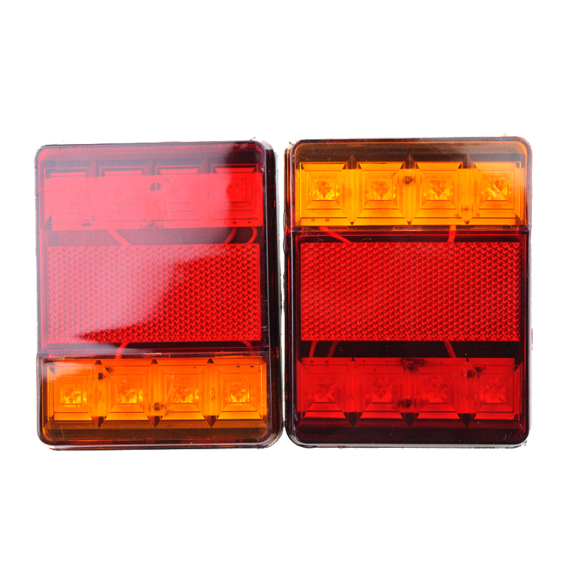 2pcs DC12V Car Trailer Truck 8LED Two-color Stop Rear Tail Brake Indicator Light Taillights Trailer Truck LED Lights