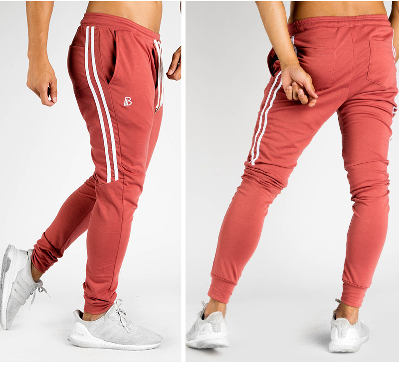 2017 GYMS New Men Casual Joggers Sweat Pants Men Fitness Workout Summer Sporting Fitness Male Breathable Striped Long Pants