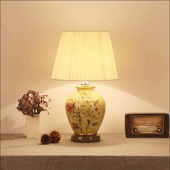 Neuen Chinesischen Stil Blume Keramik Kunst Tischlampen Fashion Schnen E27 Led Lampe Fr Nacht