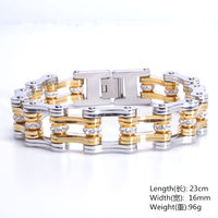 17MM High Quality Stainless Steel Silver Gold Tone Motor Bicycle Chain Biker Jewelry Men Women Bracelet Bangle 9 Christmas Gift